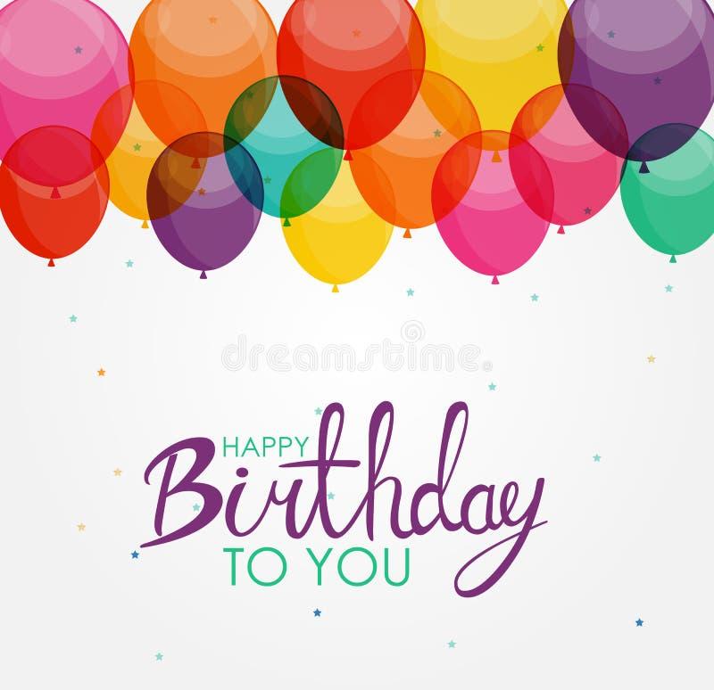 De abstracte Gelukkige van het van de Achtergrond verjaardagsballon Vectorillustratie Kaartmalplaatje stock illustratie