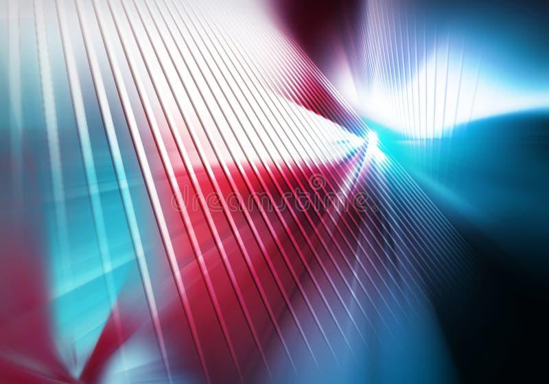 De abstracte geometrische achtergrond van oppervlakten met rechte verticale lijnen vlamde met wit licht op royalty-vrije illustratie