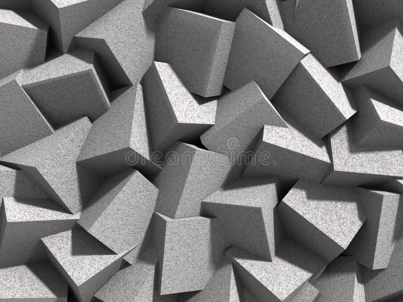 De abstracte geometrische concrete achtergrond van kubussenblokken