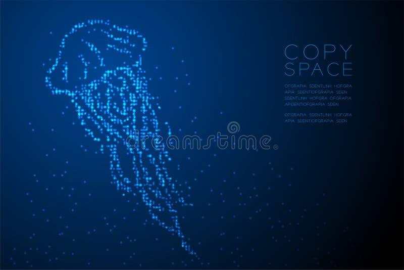 De abstracte Geometrische Kwallen van het het pixelpatroon van de Cirkelpunt vormen, aquatische en mariene blauwe de kleurenillus royalty-vrije illustratie
