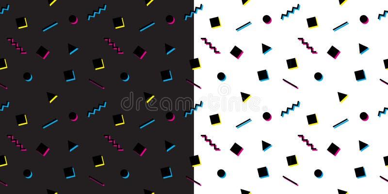 De abstracte geometrische naadloze patronen van Memphis Gekleurde vector geplaatste texturen stock illustratie