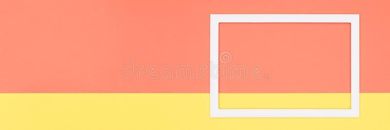 De abstracte geometrische oranje en gele document vlakte legt bannerachtergrond Minimalism, meetkunde en symmetriemalplaatje stock illustratie