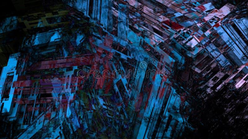 De abstracte geometrische de technologie stedelijke bouw van het de textuurpatroon van de structuurinformatie achtergrond van de  stock illustratie