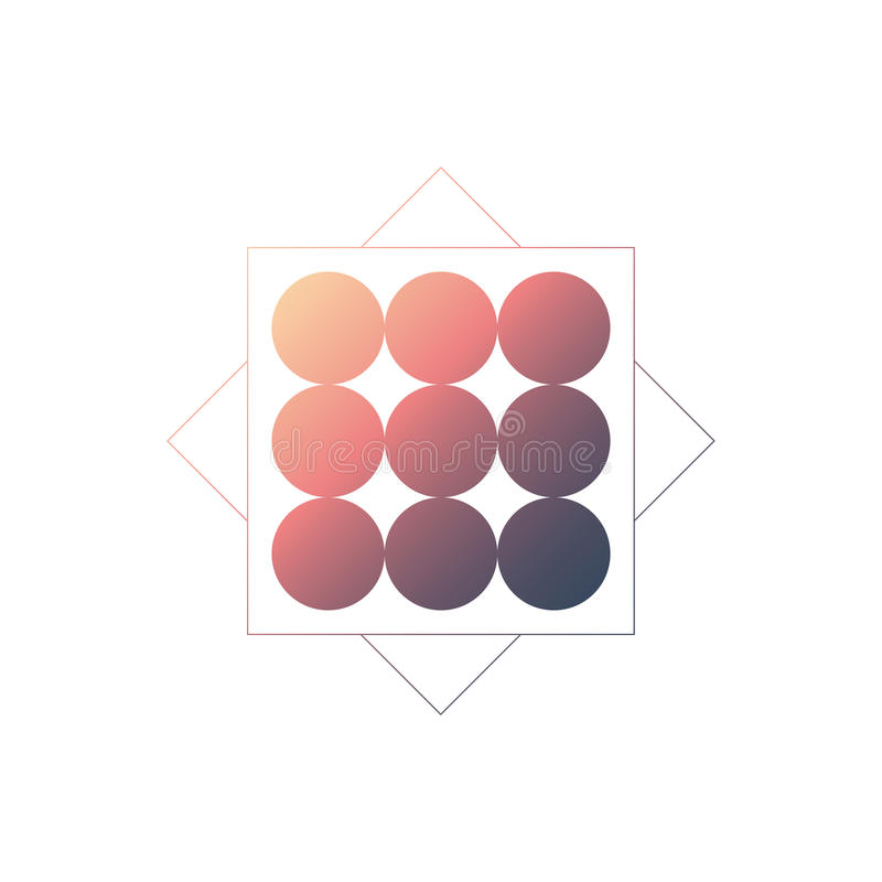De abstracte geometrische vectorachtergrond met cirkels en de gradiënt vullen Retro de jaren '80stijl stock illustratie