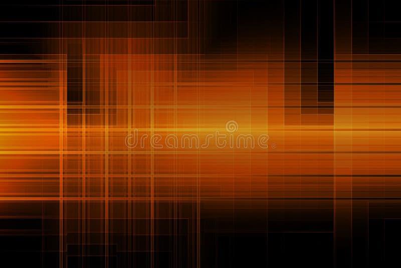 De abstracte geometrische vorm die van de lijnen oranje kleur op donkere achtergrond gloeien royalty-vrije illustratie