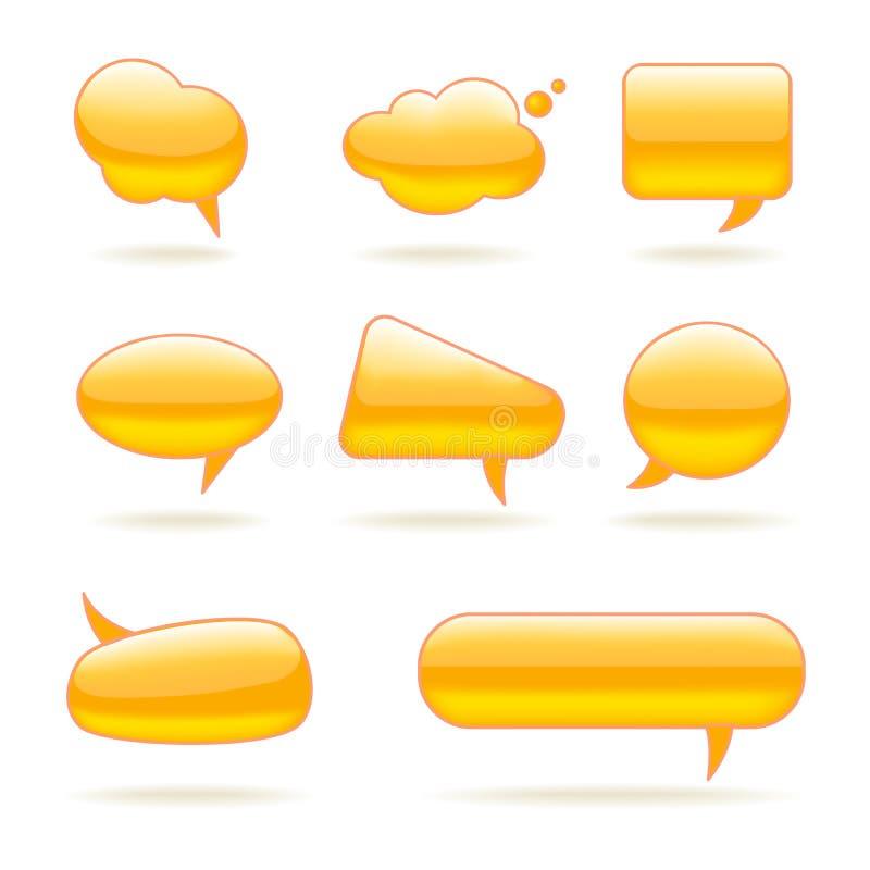 De abstracte Geplaatste Bellen van de Glas Vector Gele Toespraak stock illustratie