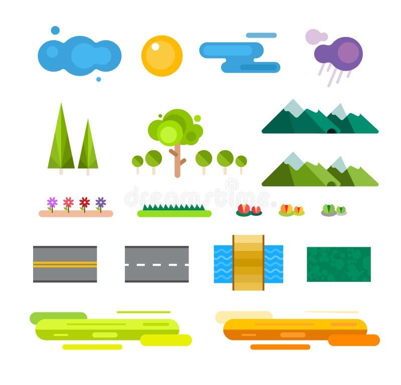 De abstracte geplaatste pictogrammen van de landschapsaannemer stock illustratie