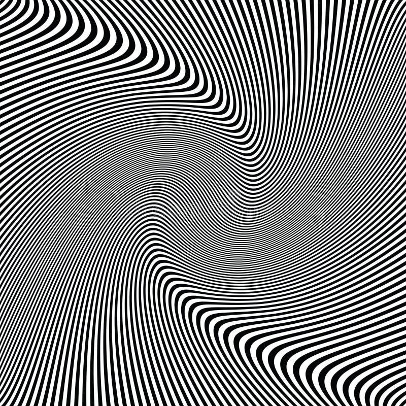De abstracte gestreepte golvende achtergrond van de golven zwart-witte optische kunst, gestreepte textuur vector illustratie