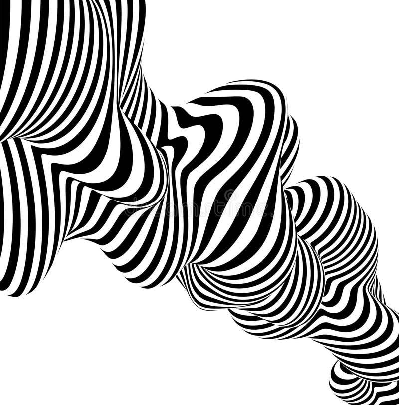 De abstracte gestreepte zwart-witte lijn van het achtergrondgolfontwerp Vector illustratie vector illustratie