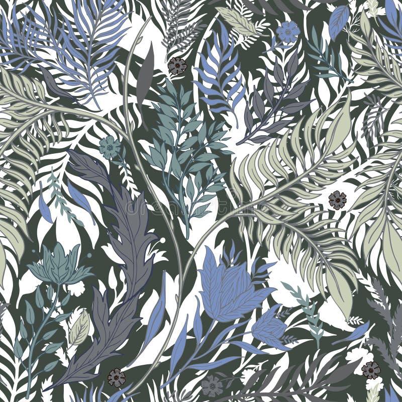 De abstracte getrokken hand van het aard naadloze patroon Etnisch ornament, bloemendruk, textielstof, botanisch element Uitsteken stock illustratie