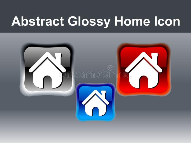 De abstracte glanzende knoop van het huispictogram stock illustratie