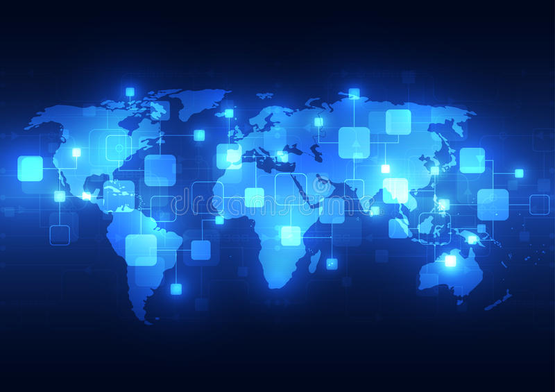 De abstracte globale achtergrond van technologietelecommunicatie, vectorillustratie stock illustratie