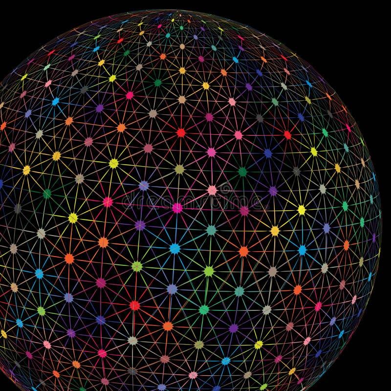 De abstracte Gloeiende van de de Bolverbinding van de Technologie Kleurrijke Digitale Aarde Vectorachtergrond royalty-vrije illustratie