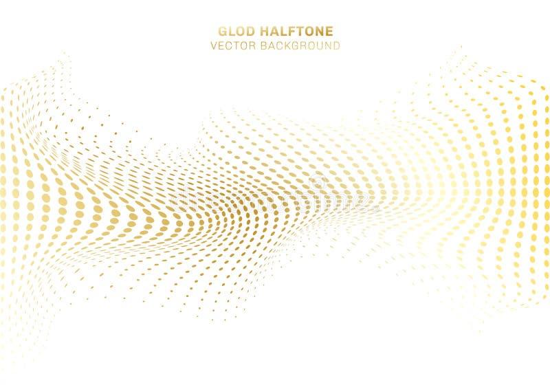 De abstracte golfkromme vervormt gouden puntenpatroon halftone op witte achtergrond luxe stijlelementen royalty-vrije illustratie