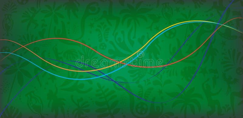 De abstracte golvende dynamische de banner vectorillustratie van Carnaval van het lijnenfestival met vogels, palmbladeren, bloeit stock illustratie