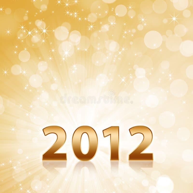 De abstracte gouden fonkelende achtergrond van het jaar 2012 stock illustratie