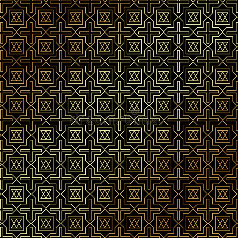De abstracte gouden geometrische stijl van het patroonart deco op zwarte backgrou vector illustratie