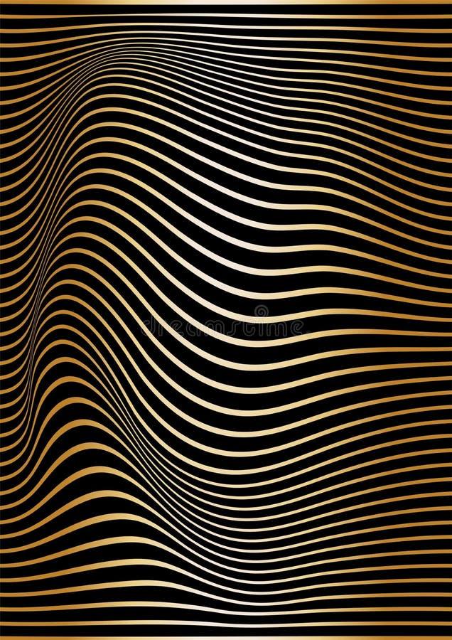 De abstracte gouden lijnen zijn gebogen op een zwarte achtergrond Optische illusie van concaafheid en kromming Golvende verticale royalty-vrije illustratie