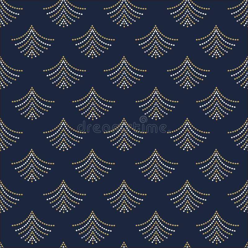 De abstracte in gouden, witte en grijze geometrische gestippelde ventilators geven patroon op blauw gestalte vector illustratie