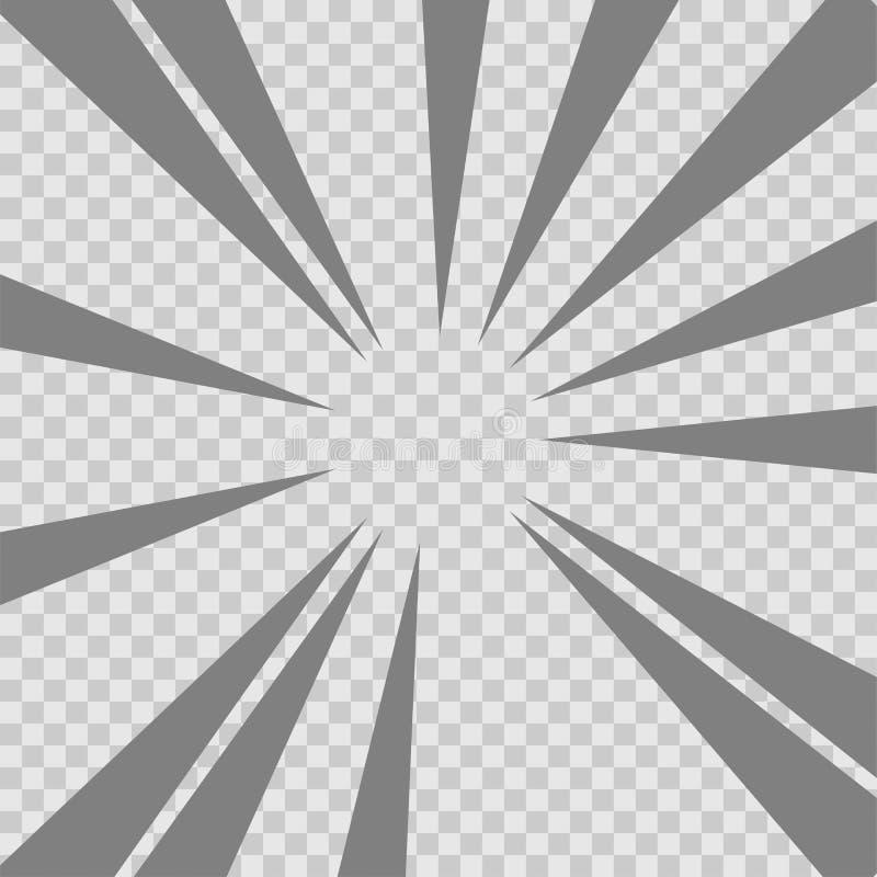 De abstracte grappige achtergrond van de explosie radiale lijnen van de boekflits Vectorillustratie voor superheroontwerp Grijze  stock illustratie