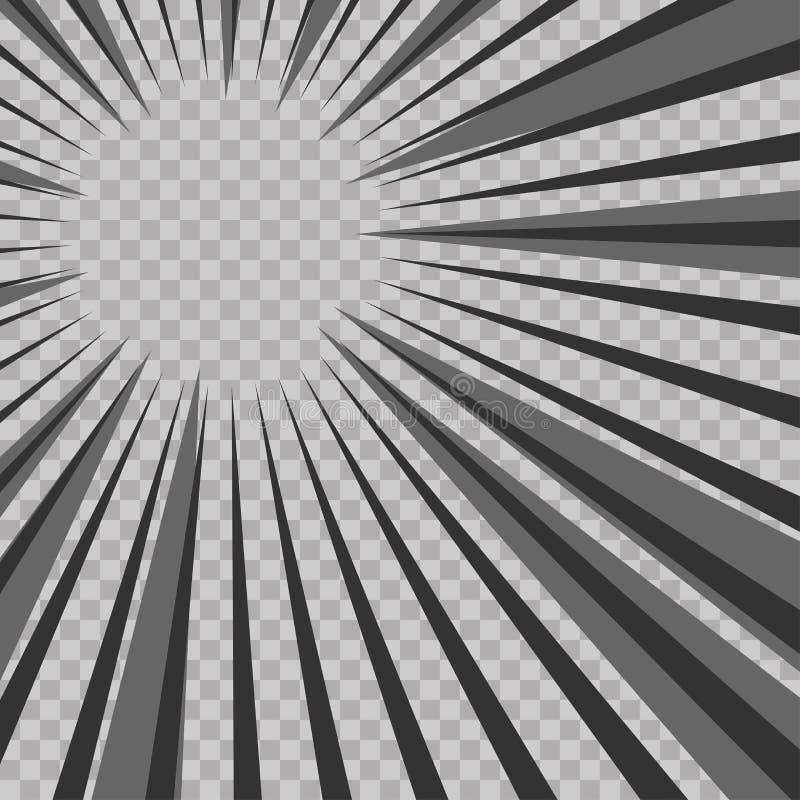 De abstracte grappige achtergrond van de explosie radiale lijnen van de boekflits Vectorillustratie voor superheroontwerp Heldere royalty-vrije illustratie