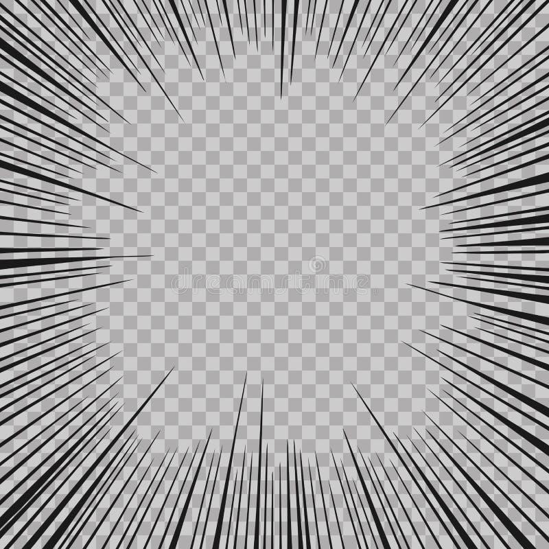 De abstracte grappige achtergrond van de explosie radiale lijnen van de boekflits Vectorillustratie voor superheroontwerp Heldere stock illustratie