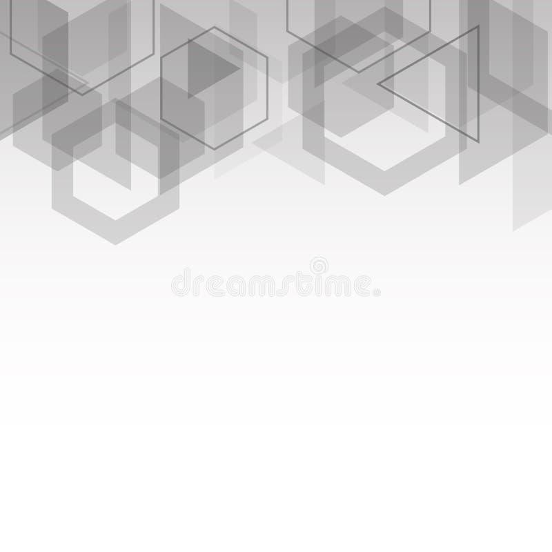 De abstracte grijze achtergrond van de kubussen geometrische vorm vector illustratie