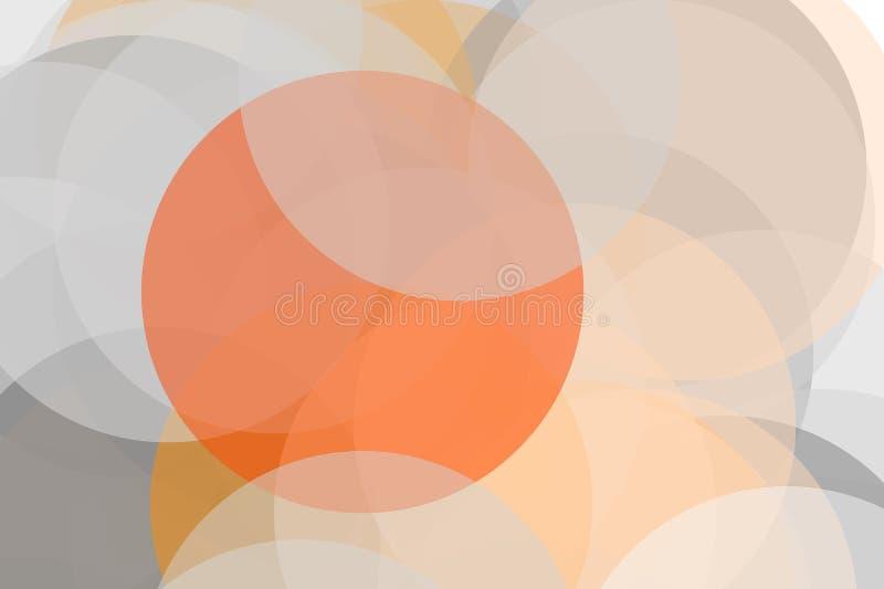 De abstracte grijze oranje achtergrond van de cirkelsillustratie royalty-vrije illustratie