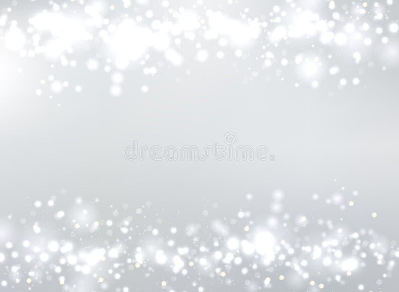 De abstracte grijze vage achtergrond met bokeh en schittert kopbal F stock illustratie