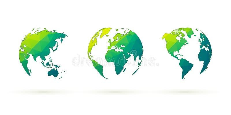 De abstracte groene aarde van de bollen vector vastgestelde wereld met geometr stock illustratie
