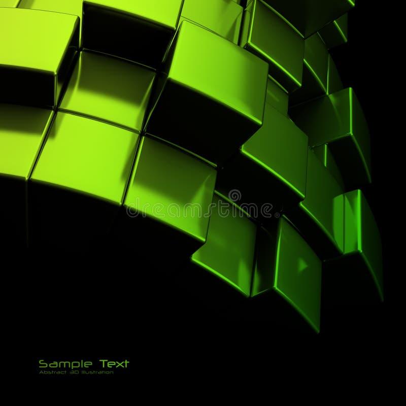 De abstracte groene achtergrond van metaalkubussen stock illustratie