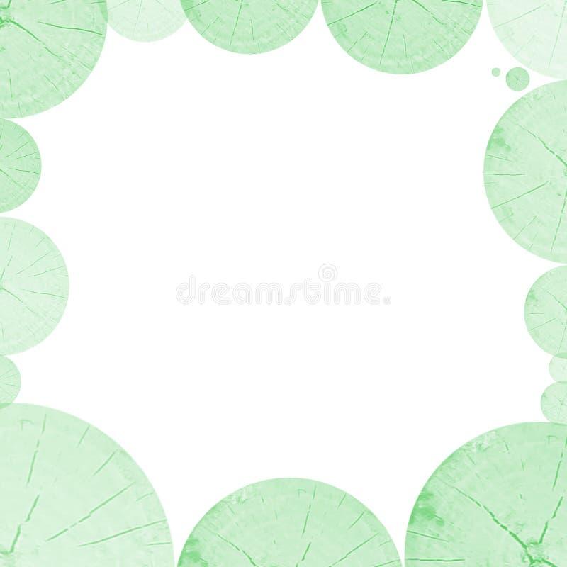 De abstracte groene ronde als achtergrond sneed houten kader stock afbeeldingen
