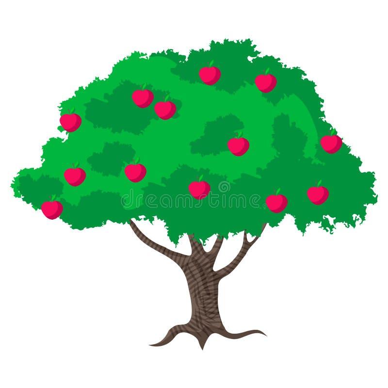 De abstracte groene vectorillustratie van de appelboom Ecoembleem met boom vector illustratie