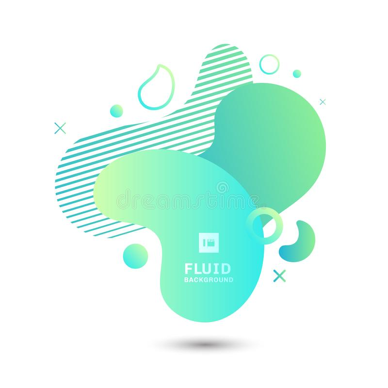 De abstracte groene vloeibare grafische samenstelling van vormelementen op witte achtergrond Geometrische vloeibare ontwerpsjablo vector illustratie