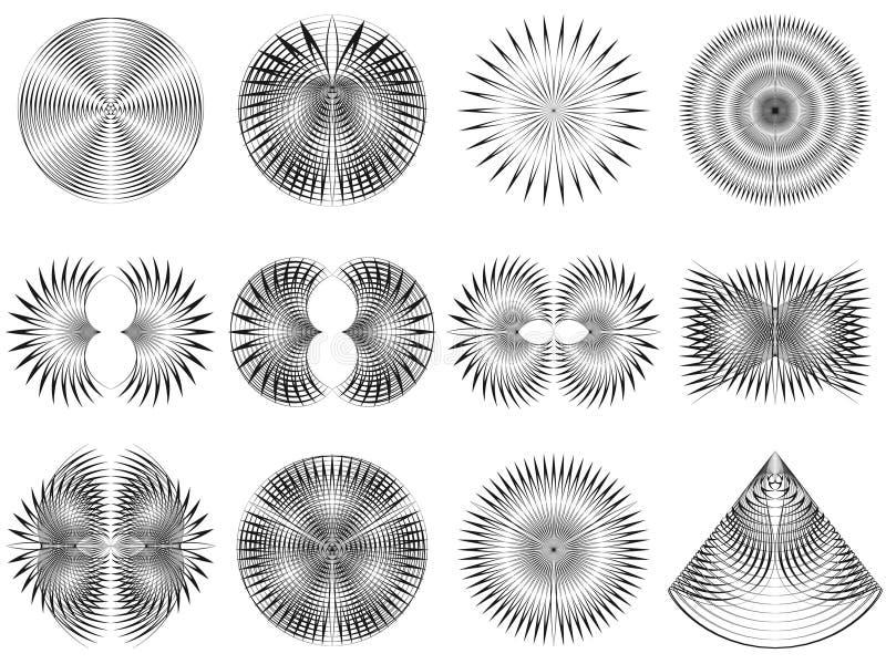 De abstracte halftone patronen van de lijnen creatieve geometrische cirkel royalty-vrije illustratie