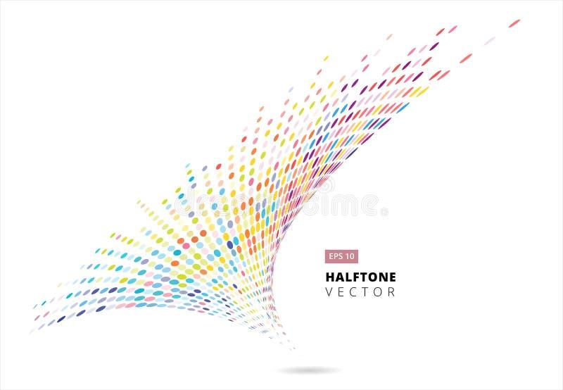 De abstracte halftone spiraalvormige regenboog stippelt patroonperspectief, onweer vector illustratie