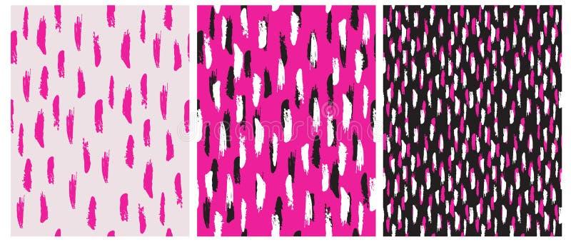 De abstracte Hand Getrokken Vectorpatronen van Borstelstrepen Roze, Zwart-witte Strepen royalty-vrije illustratie