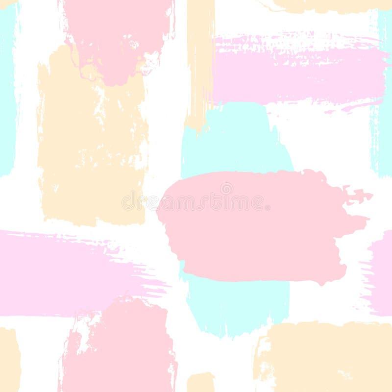 De abstracte hand getrokken verschillende vormenborstel strijkt naadloos patroonmonster in zachte pastelkleuren stock illustratie