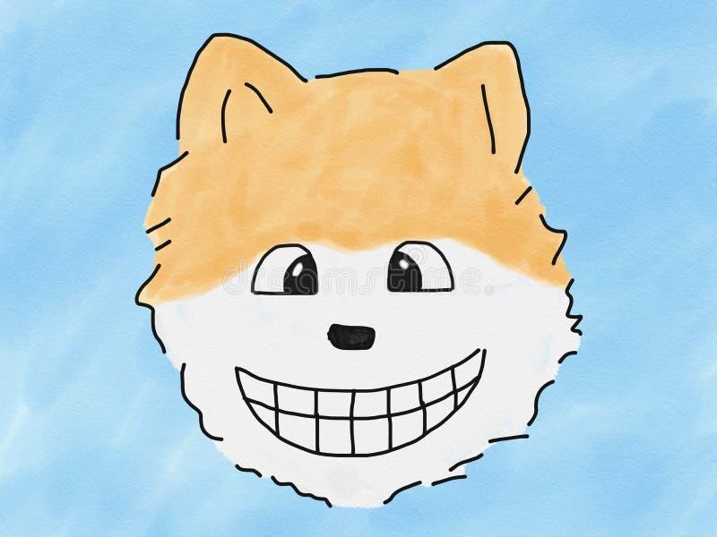 De abstracte hand trekt gezicht van de de hondglimlach van de schetskrabbel het pomeranian op blauwe achtergrond, illustratie, de vector illustratie