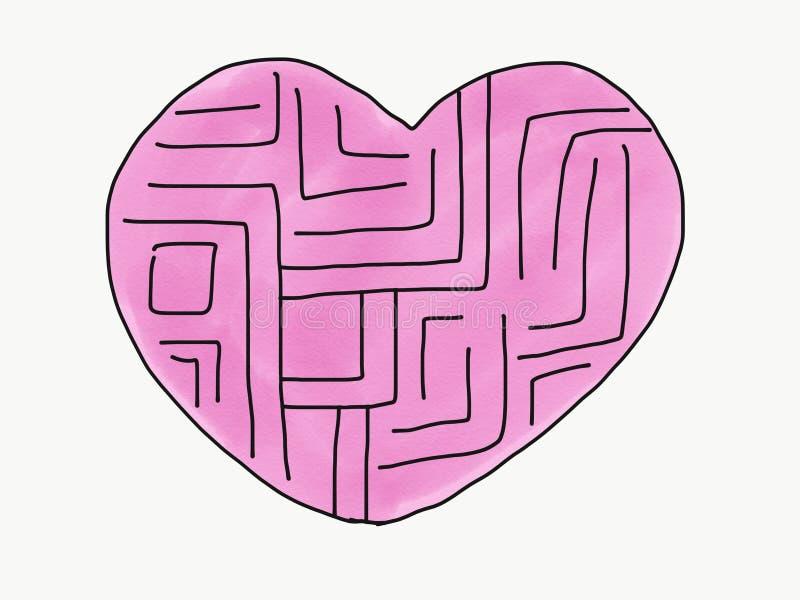 De abstracte hand trekt krabbellabyrint van hart isoleert, illustratie, exemplaarruimte voor tekst, de stijl van de waterverfverf stock illustratie