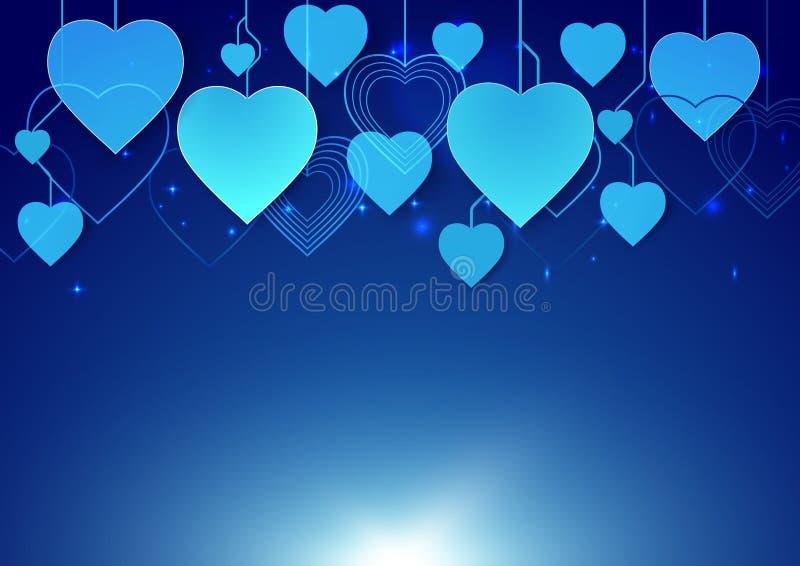 De abstracte hartvorm hangt op donkerblauwe achtergrond royalty-vrije illustratie