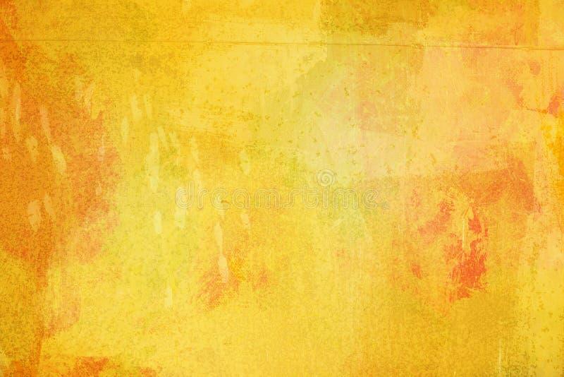 De abstracte heldere gele die oppervlakte heeft een borstel op de achtergrond voor grafisch ontwerp wordt geschilderd royalty-vrije stock fotografie