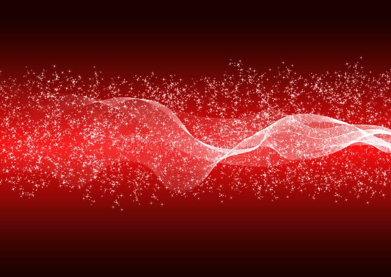 De abstracte Heldere Golven, Deeltjes en schittert op Rode Gradiëntachtergrond stock illustratie