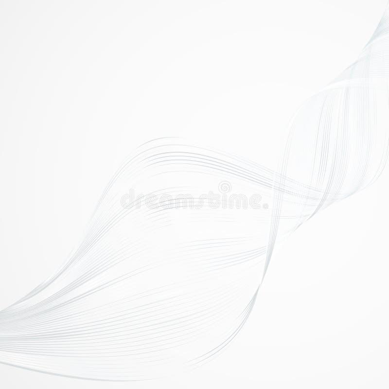 De abstracte heldere golvende lijnen op een witte lichte achtergrond Futuristische technologieillustratie ontwerpen het patroon v stock illustratie
