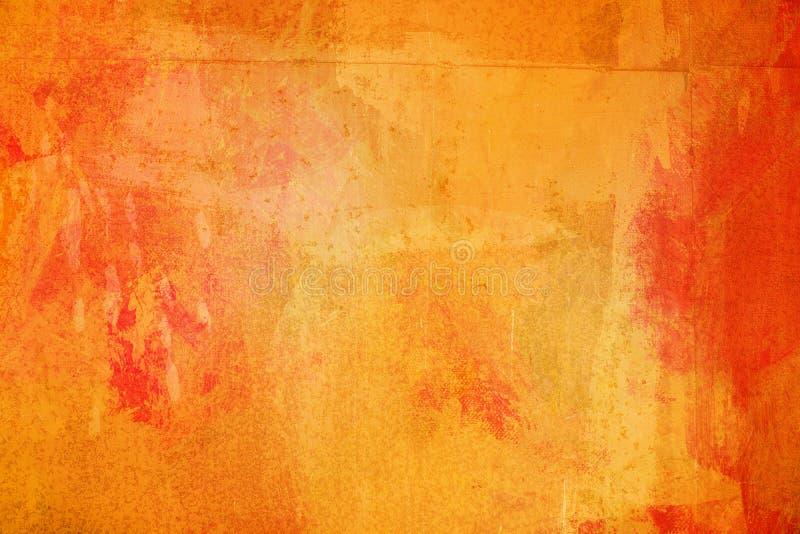 De abstracte heldere oranje oppervlakte heeft een borstel die op de achtergrond voor grafisch ontwerp wordt geschilderd royalty-vrije stock afbeelding