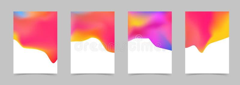 De abstracte heldere vloeibare kleurrijke malplaatjes van het afficheontwerp stock illustratie