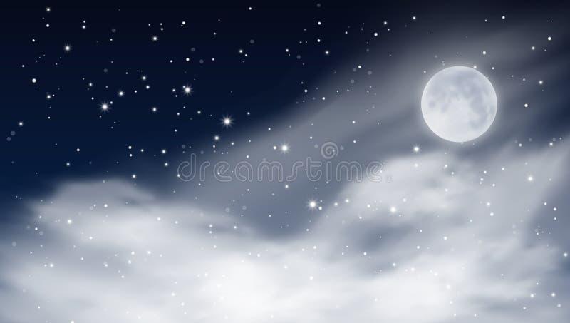 De abstracte Hemel van de Sterren Bewolkte Nacht met Grote Beerconstellatie stock illustratie