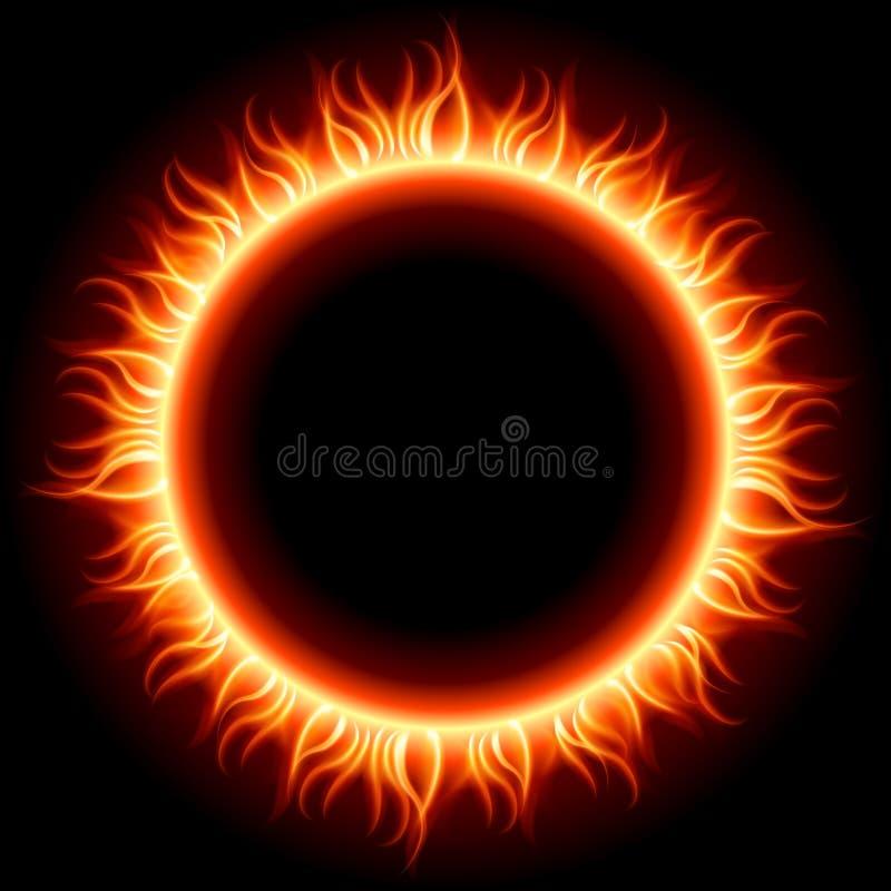 De abstracte het branden hoogste mening van de brandcirkel royalty-vrije illustratie