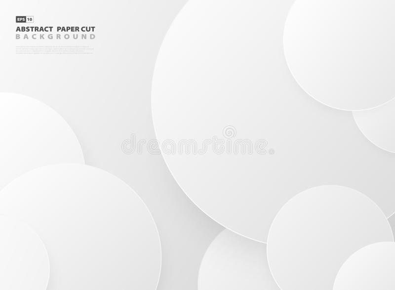 De abstracte het document van het het patroonontwerp van de gradiënt grijze cirkel achtergrond van het besnoeiingsmalplaatje Vect vector illustratie