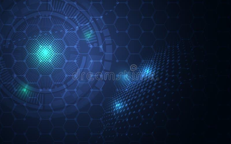 De abstracte hexagon moleculaire achtergrond van het de innovatieconcept van technologie van het structuurontwerp wetenschappelij vector illustratie